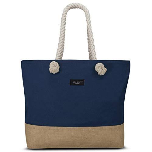 LARK STREET Strandtasche Blau Beach Bag für Damen & Herren aus robustem Baumwoll Canvas & Jute - Badetasche mit Breiten Kordeln für angenehmen Große Tasche mit Reißverschluss
