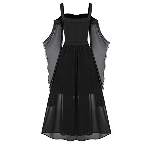 MRULIC Damen Gothic Kleid FaschingkostüMe Langarm Schulterfrei Viktorianischen KöNigin Kleider Jahrgang Party Cosplay Kleid Brautjunfer Hochzeit Fasching Fasnacht Abendkleid(A1-Schwarz,5XL)