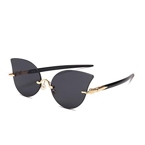 Yangjing-hl Cat Eye Sonnenbrille Metallic Film Brille Mode Persönlichkeit Sonnenbrille Damen Sonnenbrille Schwarz Fuß Grau