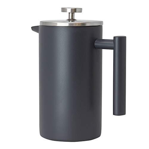 aus Edelstahl mit 3 zusätzlichen Filtern und doppelwandigem isoliertem Kaffee- und Tee-Brauertopf und -bereiter, hält gebrühten Kaffee oder Tee warm, 1000 ml grau ()