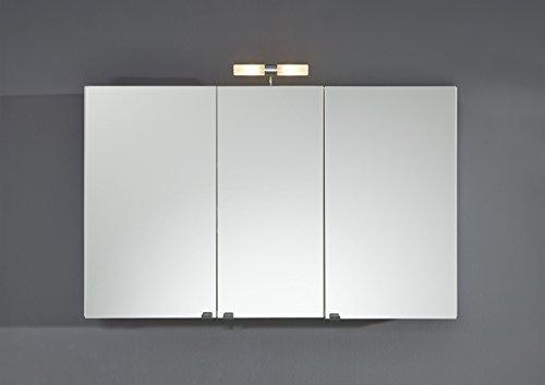 #Großer Spiegelschrank,Breite 110cm in weiß, 3 Spiegeltüren, 4 variabel Einlegeböden, Schalter-Stecker-Kombination#
