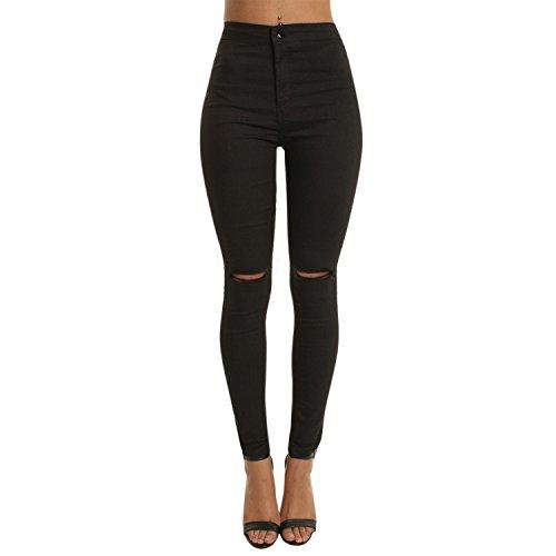 semen Damen Jeans High Waist Skinny Denim Slim Fit mit Löchern Jegging Basic Stretch Jeanshosen Legging