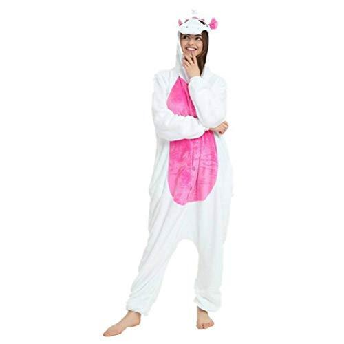 Unisex-Pyjama Erwachsenen Tier Onesies Flanell Pulver Einhorn Tier Einteilige Pyjama Cartoon Herbst und Winter Langärmelige Männer und Frauen zu Hause Liebhaber Kleidung, Golden_flower, Pulver (Kostüm Frauen Zu Hause)