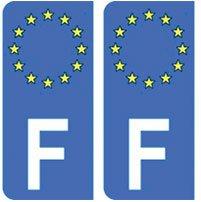 Stickers x2 Bumper en vinyle autocollants 7,6/cm Union europ/éenne France Carte forme eu-fr europe-french 75/mm