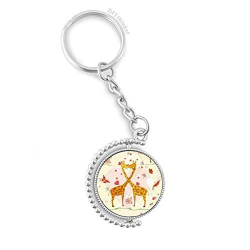 DIYthinker Gelb Kissing Giraffen Valentinstag Drehbare Schlüsselanhänger Ringe 1.2 Zoll x 3.5 Zoll Mehrfarbig