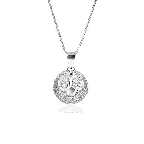 Ciondolo da calcio da donna s925 Collana in argento sterling con catena gioiello per clavicole