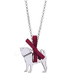 Unoaerre Happy Pets 8344 YC5Z9FM - Collar de plata 925 % con colgante de perro carlino