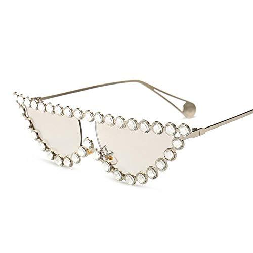AGGIEYOU kleine Katze Auge Sonnenbrille Frauen Retro Strass Kristall kleine Perle Sonnenbrille Triangle Trending Produkte, Splitter-Splitter