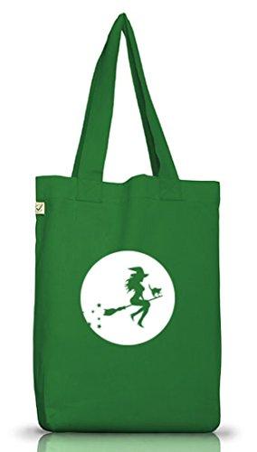 Shirtstreet24, Halloween - Hexe, Grusel Kostüm Jutebeutel Stoff Tasche Earth Positive Moss Green