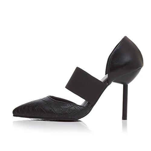 Elastique Talon Sexy noir T Haut Soirée Aiguille Chaussures Femme 43 Oaleen Escarpins 32 classique Bride 1qZnT005