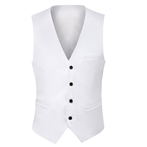 Weste Herren Business Hochzeit Slim fit mit 4 Knöpfe Anzugweste Weiß Small -