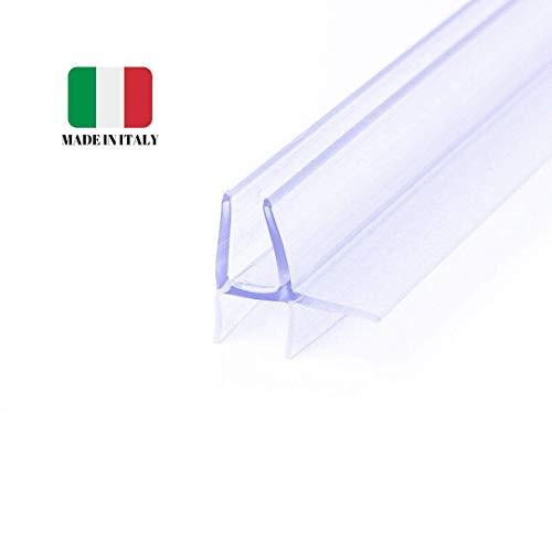 IEGAR Guarnizione 100Cm Sottoporta Trasparente 2a Generazione Profilo Doppia Aletta Ricambio x Box Doccia In Vetro Filo Pavimento Con Porta a Battente Universale Per Vetri 4mm/5mm/6mm Con Gocciolatoio