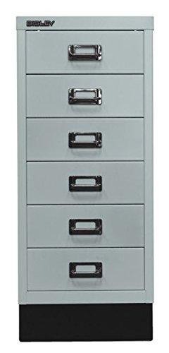 Bisley MultiDrawer, 29er Serie mit Sockel, DIN A4, 6 Schubladen, Metall, 645 Lichtgrau, 38 x 27.9 x 67 cm -