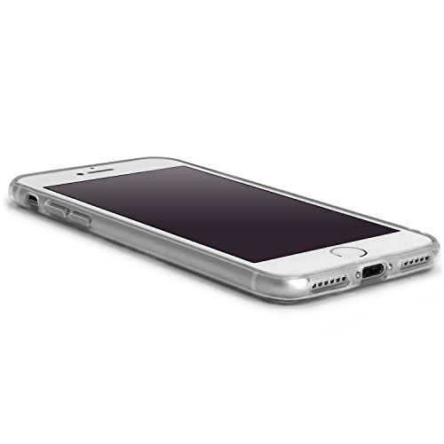 igadgitz Solides Schwarz Glänzend Etui Tasche Hülle Gel TPU für Apple iPhone 7 & 8 4.7 Zoll Case Cover + DisplayschutzDolie Blau Blumen in Mist Muster