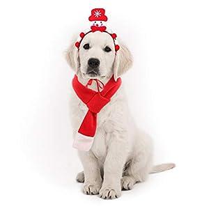 POPETPOP Accessoires de Costume de Noël pour Animaux de Compagnie Chien Bandeau Bonhomme de Neige et écharpe de Noël pour Chiens Chats