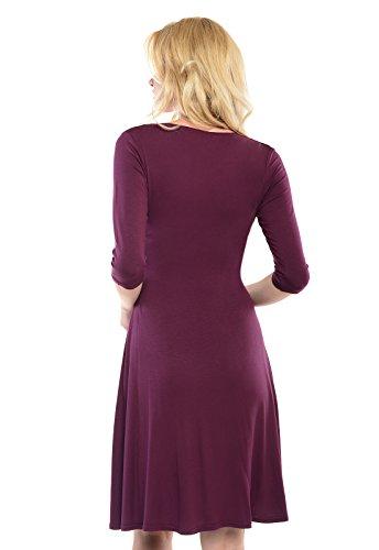 Purpless Maternity V-Ausschnitt 3/4 Arm Schwangerschaft Kleid D4400 Plum