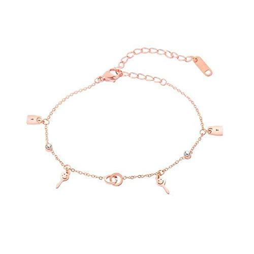 JunBo Einfache Doppelring Kreis Armband Titan Stahl Lächeln Gesicht Key Lock Schmuck - Lächeln Armband