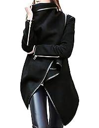 MEIbax Abrigos Mujer Invierno Mujeres Irregular Arco Cremalleras Manga Larga Abrigo cálido Chaqueta de Lana Parka Cortaviento