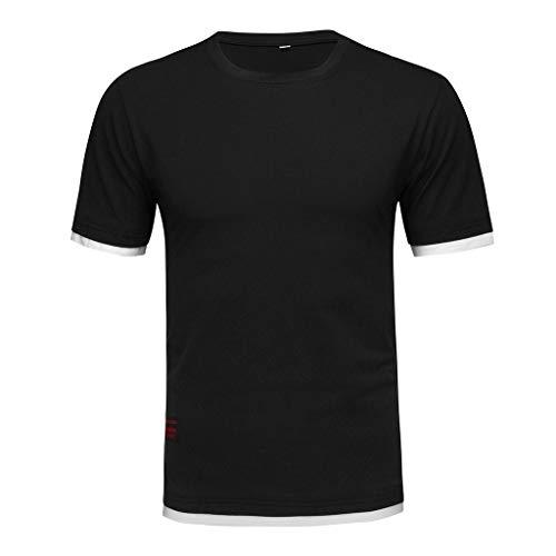 WUSIKY Oversize Tshirt Herren Hemd Kurzarm Sommer Einfarbig Einfarbig Baumwolle O-Ausschnitt Slim Fit Top Bluse Hemden Männer T Shirts (Schwarz, XXXL) -