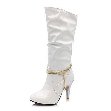 Rtry Verni En Cuir Femme Chaussures Automne Hiver Mode Bottes Bottes Talon Aiguille Bout Rond Bottes Mi-mollet Imitation Perle Chaîne Usure Décontractée Us8 / Eu39 / Uk6 / Cn39