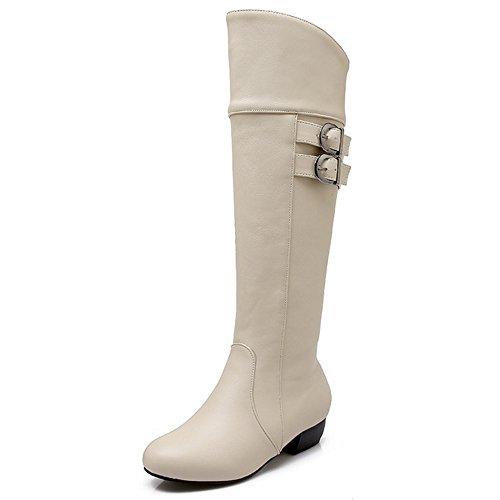 COOLCEPT Damen Trend einfache flache Schuhe Winter zur Mitte der Wade Marder Stiefel mit Schnallenriemen Beige