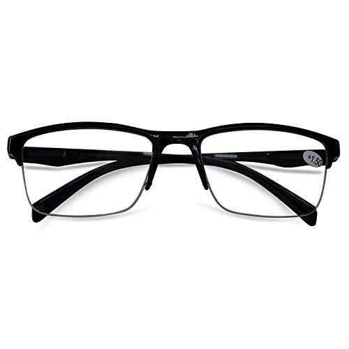 KOOSUFA Lesebrille Herren Damen Halbrahmen Brille Halbrandbrille Lesehilfe Sehhilfe federscharnier Schwarz 0.25 0.5 0.75 1.0 1.25 1.5 1.75 2.0 2.25 2.5 2.75 3.0 3.25 3.5 3.75 4.0 (1x Schwarz, 0.25)
