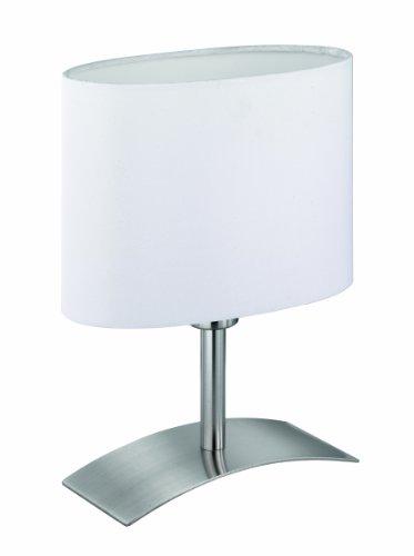 Reality Leuchten LED Tischleuchte inklusive 1x LED E14, 4 W, 310 lm, Höhe 26 cm, Schirm weiß, metall nickel matt R52131101 - 26 Hohe Metall