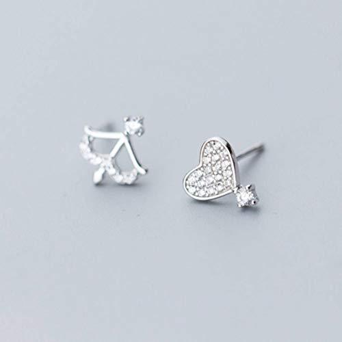 Golden_flower S925 Silber Ohrringe Frauen Han Xiaoqing Neue Diamant Liebe Asymmetrische Amor Pfeil Ohrschmuck, Silber, 925er Silber (Goldene Ohrringe Kleine Pfeil)