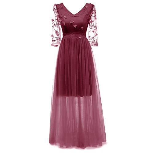 MAYOGO Kleid Damen Elegant Vintage 50er Spitze Kleid mit Tüll Langarm Cocktail Party Rockabill Kleider Abendkleid (Seide Dunkel Blumen Lila)