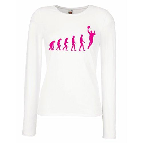 Weibliche langen Ärmeln T-Shirt Evolution Basketball (XX-Large Weiß Magenta)