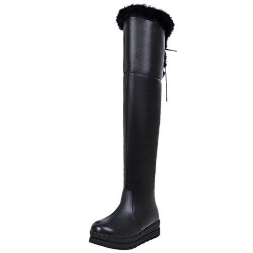 TAOFFEN Femmes Hiver Genoux Bottes Black
