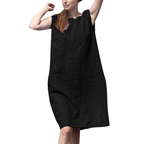 Dasongff Damen Kleider Armellos Rundhals Trägerkleid Baumwolle Basic Casual Minikleid Knielang Strandkleider Schöne Elegante Einfarbig Freizeitkleid Klassisches Sommerkleid S-5XL -