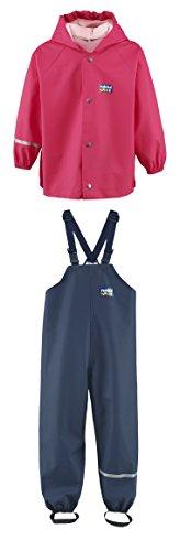 Rukka wasserdichte Regenbekleidung für Kinder Set Magenta Regenjacke und marineblaue Latzhose 116 cm / 6 Jahre