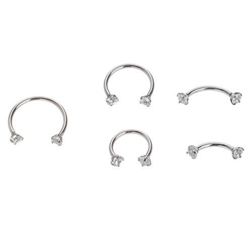 IPINK zirconi naso, sopracciglia, orecchie, labbra, capezzoli Daith cartilagine Captive Anello a cerchio in acciaio chirurgico, confezione da 5