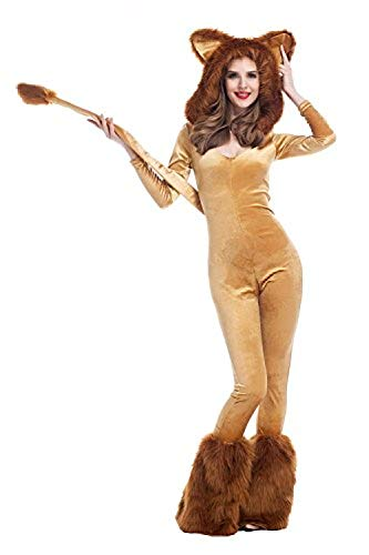 Blackzzz Frauen Deluxe Lion Kostüm Tier Cosplay Kostüm Furry Halloween Outfits @ - Furry Kostüm Frauen