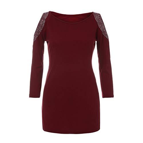 Easy Go Shopping T Shirt décontracté à la Mode pour Femmes à Manches Trois Quarts avec Strass (Couleur : Wine, Taille : L)