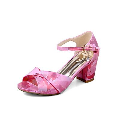 Sandales femmes Printemps Été Automne Chaussures Club Bureau PU & Carrière Casual Robe Talon Rhinestone Buckle Fuchsia