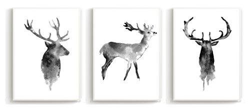 Wandposter für Wohnzimmer, Schlafzimmer, Arbeitszimmer Poster, Wandbild, Wanddruck edel (DIN A4 3er-Set) Hirsch