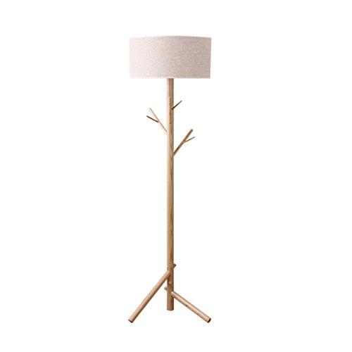 ZHDC® Lámpara de pie japonesa, minimalista nórdica moderna americana dormitorio creativo sala de control remoto perchero lámpara de pie de madera maciza lámpara de piso ( Tamaño : Foot switch )