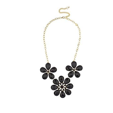 Lux Accessories Floral Design Statement Necklace Black