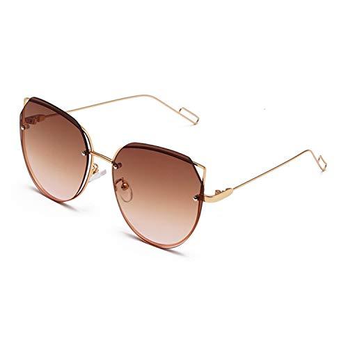 Fashion Classic Männer Cat Eye Randlos Sonnenbrille Retro Frauen Metall-große Feld-Sun-Glas-Gradient Brillen, 2