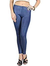 PartyWear PU Coated Faux Leather Blue Legging for Women/Girls by Timbre