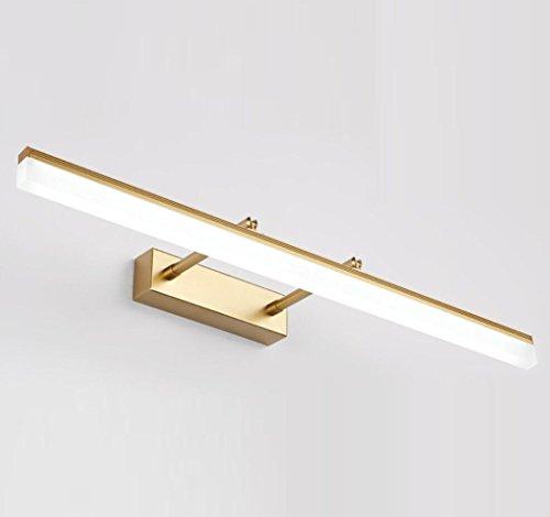 Spiegel Frontleuchte LED Badezimmer Badewanne Wandleuchten Wasserdicht und Anti-Beschlag versenkbare Länge Spiegelleuchte 180 ° Einstellbarer Winkel,Gold_70cm(16W)