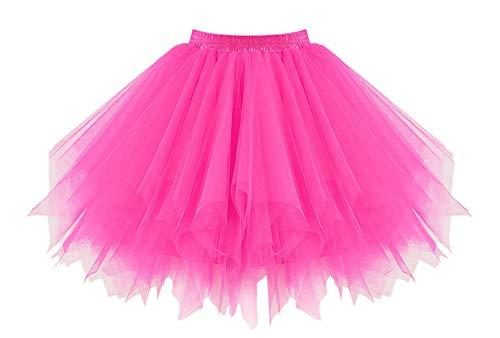 0er Jahre Kostüme Ballet Tüllrock Karneval Petticoat Neon Farben Neon Pink Übergröße ()