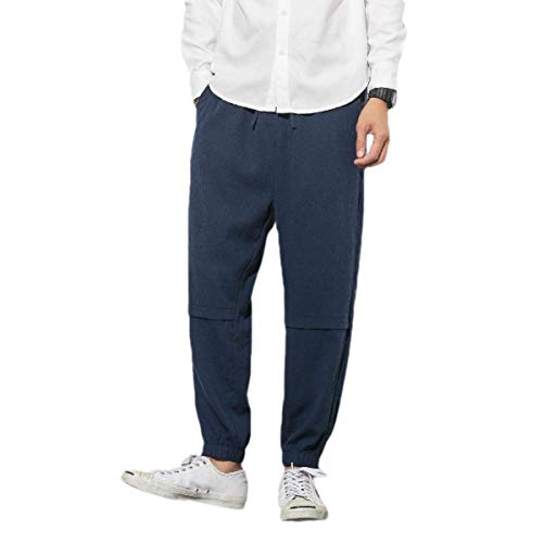 CuteRose Men Linen Solid-Colored Drawstring Harem Pants Middle Waist Pants Navy Blue 4XL Navy Blue Corduroy Pants