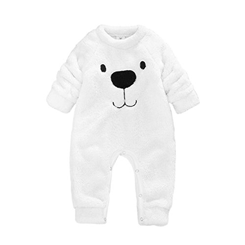 Baywell Baby Kleinkind Flanell Spielanzug Outfits, Winter Cute Cartoon Bär Tops und Onesies Overall (70/XS/0-6 Monate, Spielanzug-Weiß) Monat Onesies