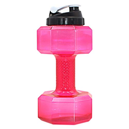 GeekGoodies Dumbbell Shape Water Bottle Sports Fitness Exercise Kettle Leak Proof Lid for Gym, Yoga, Running, Outdoors, Cycling, and Camping Large - Red