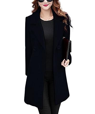 Femmes Classique Manches Longues Col Revers Parka Mi-Longue Veste Élégante Manteau Chic Automne-Hiver Tops Outwear YOSICIL