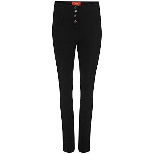 Damen Mädchen Miss Sexies Reverse Schule Arbeitshose Skinny hohe Taille Hose - schwarz 4 Knopf, EU 38 - L31