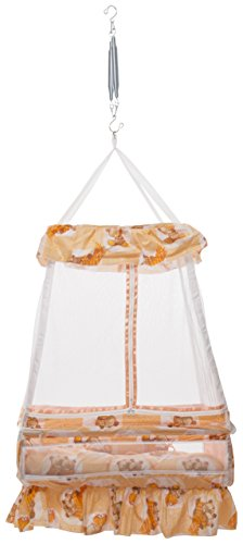 VParents King Baby Crib Cradle with Bed and Pillow and Hanging Spring (Orange)